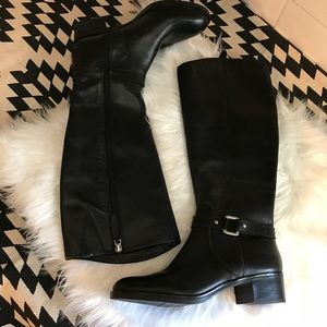 Franco Sarto Circuit Leather Buckle Riding Boots